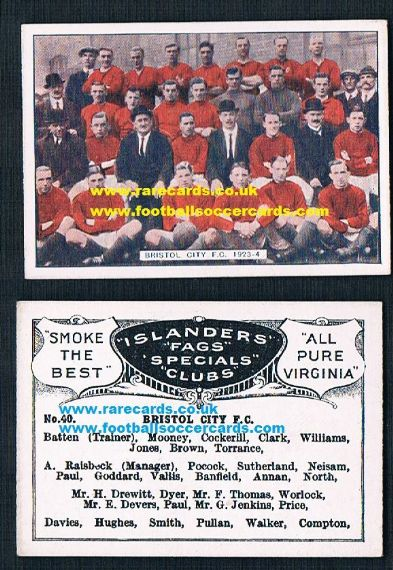 1923 Bucktrout Islanders Bristol City F.C. football team on a rare cigarette card